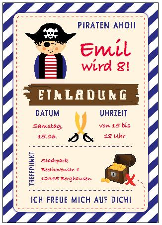 Einladungskarte Piratenparty mit Rubriken: Datum, Uhrzeit