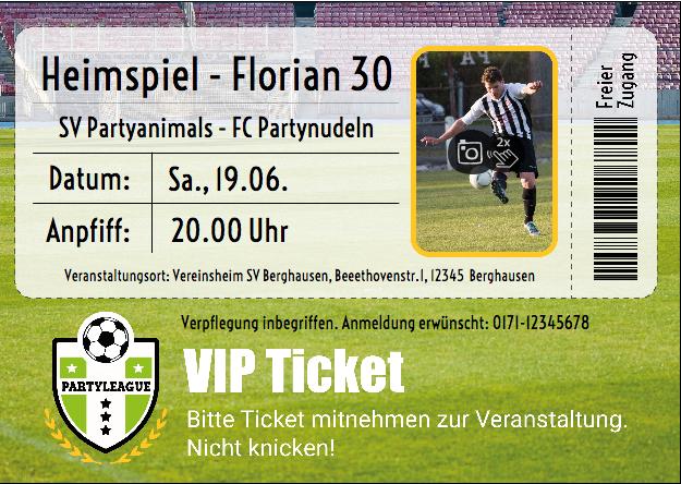 Geburtstagseinladung als Ticket, auch für Frauenfußball geeignet