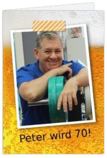 Zur Grillparty diese Geburtstagseinladung mit Bier und Foto des Geburtstagskindes