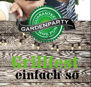 Einladung Grillparty: Mit schwarz-grüner Schrift steht hier Grillparty anstelle Geburtstag