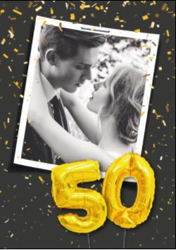 Einladung Goldene Hochzeit! Mit so einem Original-Hochzeitsfoto können Sie aus der Einladungskarte Zahlenballon 50 Gold auch eine Einladung zu einer Feier der Goldhochzeit machen