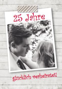 Fotokarte in Grau-Tönen mit Holzoptik, auch zur Feier als Silberpaar geeignet