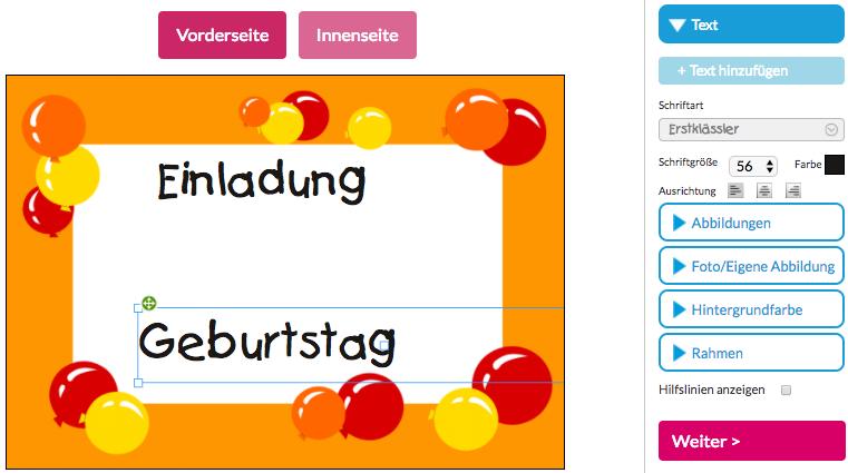 Entwerfen mit den Schrifttypen. Selber gestalten Einladungskarte.