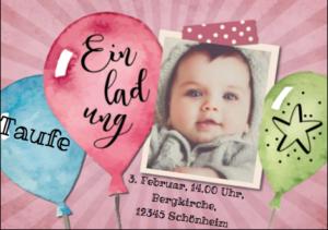 Einladung mit Luftballons und Foto vom Kind, hier für eine Einladung zum Taufgottesdienst