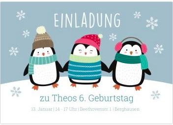 Geburtstagseinladung für Winterkinder