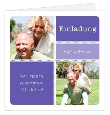 Gemeinsam Geburtstag feiern mit dieser Einladungskarte für den Doppelgeburtstag für zwei Fotos.