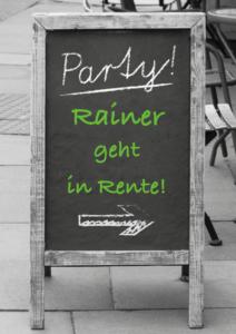 Einladung Feier zum Renteneintritt Kreidetafel