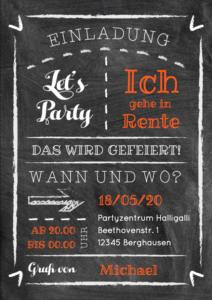 Einladung Feier zum Renteneintritt Kreide