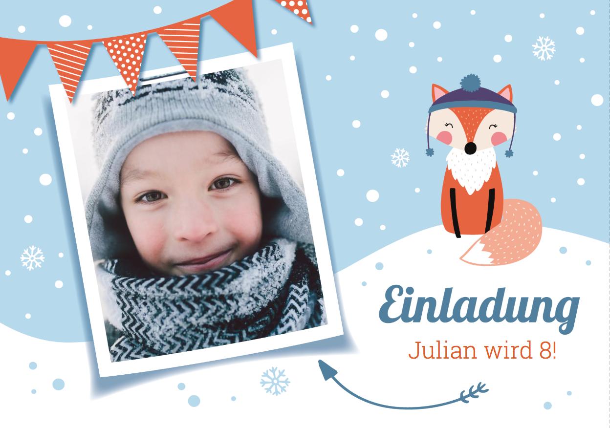 Schöne Geburtstagseinladung für Winterkinder