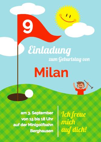 Minigolf Einladung für den Kindergeburtstag oder Einladung zum Golfturnier