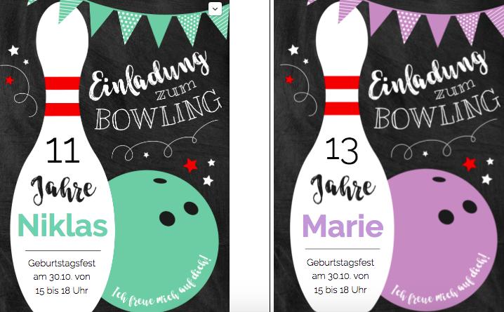 Einladung zum Kegeln oder Bowling