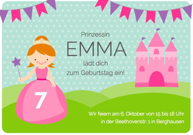 Einladung Prinzessinnenparty für die Prinzessinnen Party