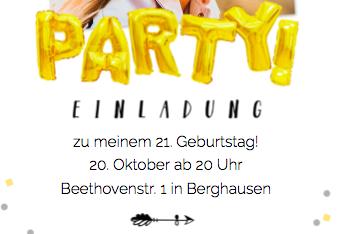 Einladung 21. Geburtstag
