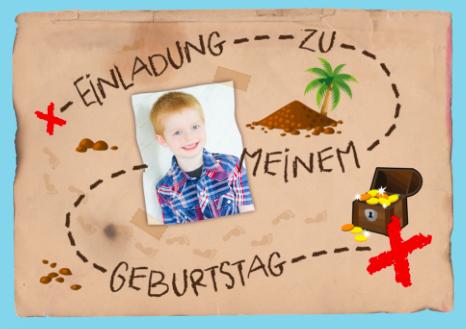 Einladung Schatzsuche am Kindergeburtstag mit Foto vom Geburtstagskind