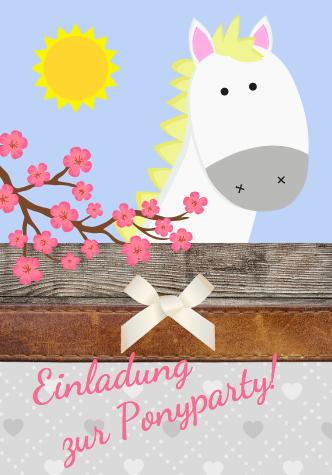 Pferde-Party oder Pony-Party einladen mit dieser Einladungskarte