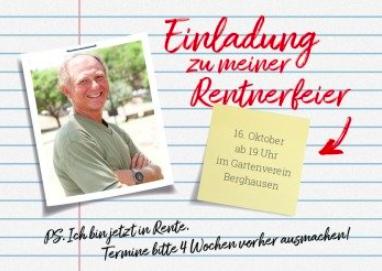 Einladung zur Pensionsfeier  oder Einladung Rentnerfeier