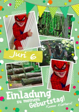 Einladung zum Klettern wie Spiderman, hier mit Spiderman als Geburtstagskind