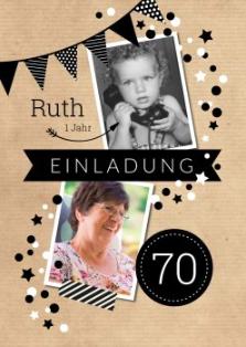 Für Einladung zum 70. Geburtstag