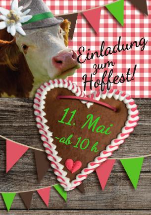 Motiv mit Kuh eignet sich auch gut für eine Einladung zum Hoffest