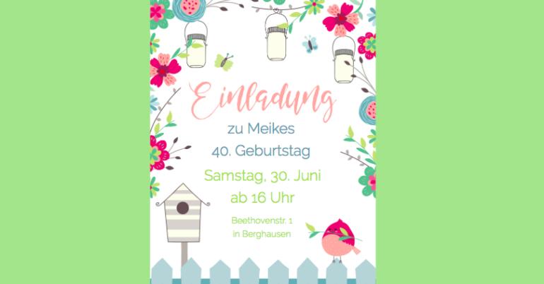 Einladung Gartenparty oder zum Gartenfest