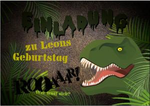 Dino Party, Dschungeldino, Dino im Dschungel, Einladungskarte, Kindergeburtstag
