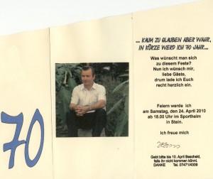 Einladung zum 70. Geburtstag