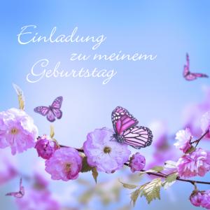 Einladung zum 75. Geburtstag mit Schmetterling