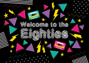 Einladung 80er Jahre in Schwarz mit Text Welcome to the Eighties