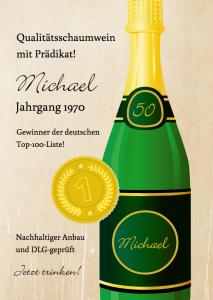 Einladung zum 50.Geburtstag mit Champagner-Flasche