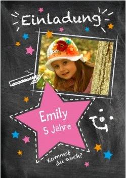 pinker Stern und Sternchen als Einladung Geburtstag