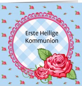 Selbst gestaltete Einladungskarte zur Kommunion